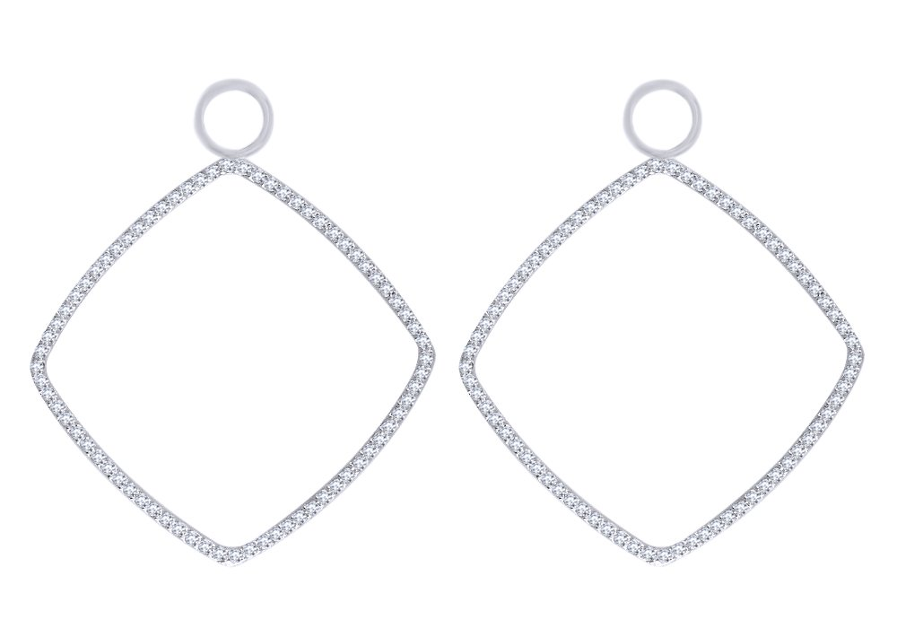 Round Shape White Natural Diamond Earring Jackets in 14k Solid White Gold (1 Cttw) by AFFY