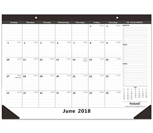 Nekmit Monthly Desk Pad Calendar, June 2018 - December 2019, 16-3/4
