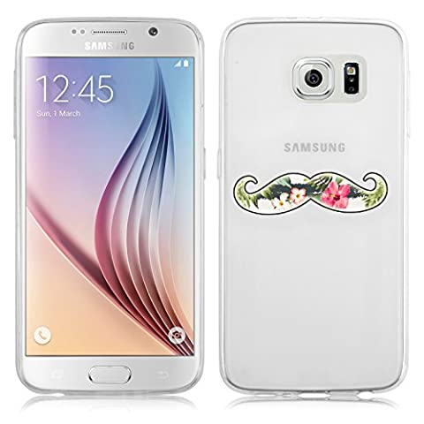 Galaxy S6 Case, JAMMYLIZARD Invisible Gel Sketch Clear Design Back Cover for Samsung Galaxy S6, Floral (Galaxy S6 Phone Pre Order)