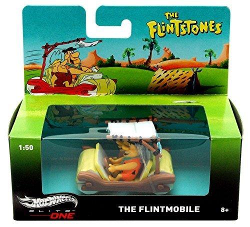 The Flintstones Flintmobile w/ Fred & Barney Figures, Brown - Mattel Hot Wheels BCJ83 - 1/50 Scale Diecast Model Toy Car