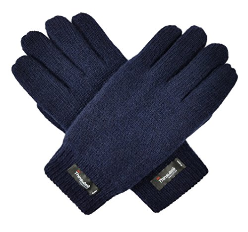 (Bruceriver Men's Wool Plain Basic Style Knitted Gloves with Thinsulate Lining Size L/XL (Navy))