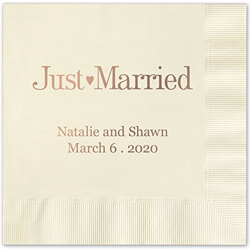 Just Married Personalized Luncheon Dinner Napkins - Canopy Street - 100 Custom Printed Ivory Ecru Paper Napkins with choice of foil stamp (5176L)