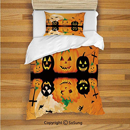 Halloween Decorations Kids Duvet Cover Set Twin Size,