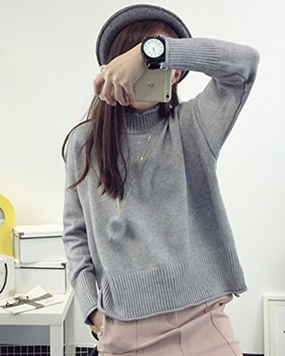 Chandail Gris Blouse Hiver Pull Longues Casual Robe over Lache Femme Mode Tricot Manches 48w7g8