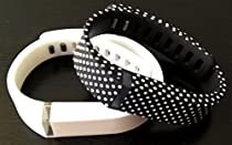Large 1 White 1 Black with White Dots Spots Band for Fitbit FLEX Only With Clasps Replacement /No tracker/