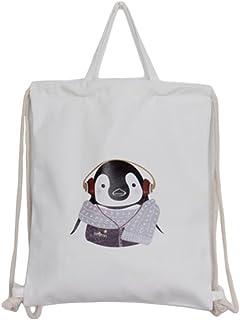 Lumanuby 1Pcs Sac à Dos Loisir Sac de Rangement en Toile Modèle de pingouin Sac à bagages Impression Organisateur des Voyage Sac Pochette Grande