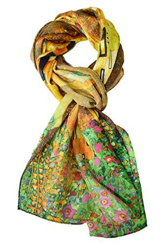 ELEGNA Women's 100% Silk Flower Painting Long Scarf Shawl (Gustav Klimt's Kiss)