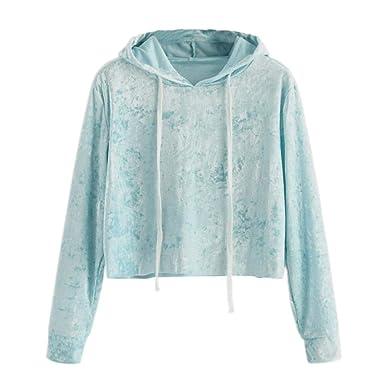 Yesmile Camisas Blusa Mujer Entrenamiento Sudadera con Capucha de Manga Larga para Mujer Sudadera con Capucha Sudadera con Capucha Blusa de Terciopelo: ...
