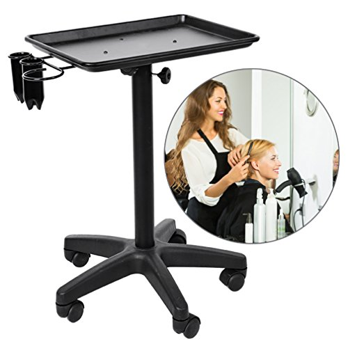Salon Instrument Aluminium Tray Trolley, Adjustable Height Rolling Mobile Beauty Hair Service Tool Storage Utility Carts (Black)