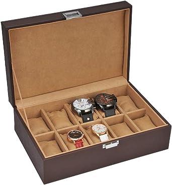Caja para Guardar 10 Relojes De Hombre Y Mujer Estuche Organizador De Joyas Y Pulseras Joyero Expositor para Almacenaje De Relojes Y Gemelos Diseño Elegante, CafÉ Oscuro, CafÉ Claro,: Amazon.es: Relojes