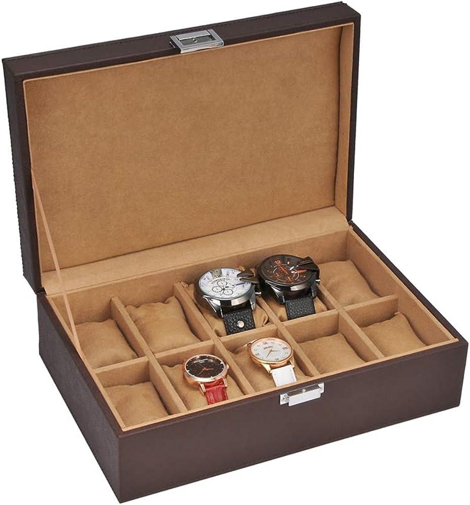 Caja para Guardar 10 Relojes De Hombre Y Mujer Estuche Organizador ...