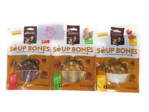 Rachael Ray Nutrish Soup Bones 3 Flavor Dog Treats Variety Bundle: (1) Real Beef & Barley, (1) Chicken & Vegies, (1) Real Turkey