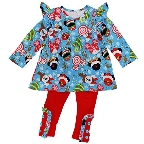 So Sydney Toddler 2 Pc Christmas Ruffle Pant Tunic Top Holiday Girls Boutique Clothing Outfit (M (4T), Merry Mouse) ()