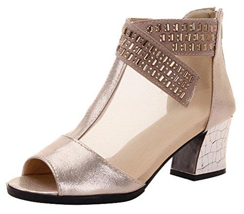 Passionow Women's Elegant Peep Toe Chunky Heel Dress Party Mesh Rhinestones Sandals (7.5 B(M)US,Golden2) (Doc Martin Sandels)