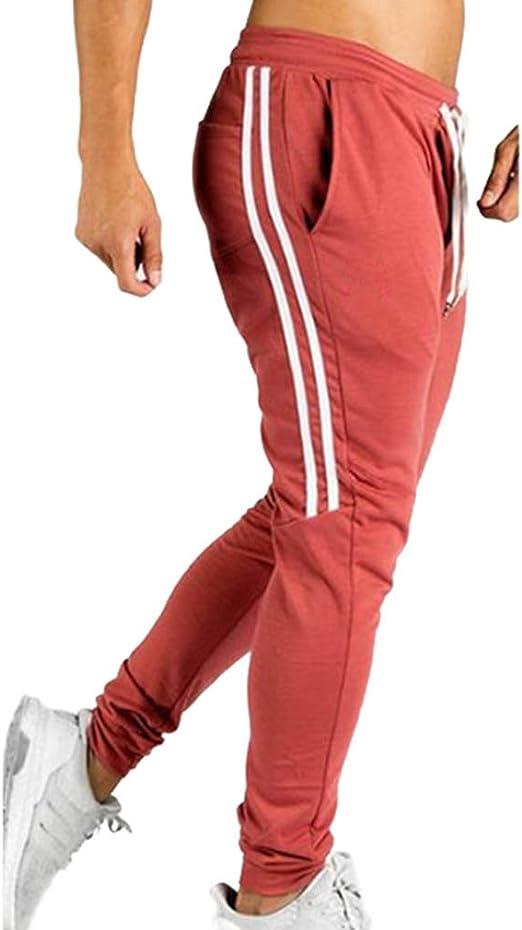 junkai Hombres Pantalones Apretado Pantalones de Culturismo ...