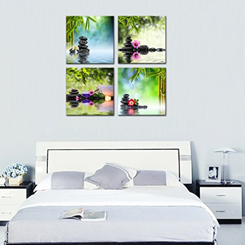 4 Panels Wall Art Canvas Prints Stones Flowers and Bamboo on Water SPA Still Life Modern Artwork Stretched and Framed for Home Living Room Decoration (30cmx30cmx4pcs) by MOCO ART (Image #3)