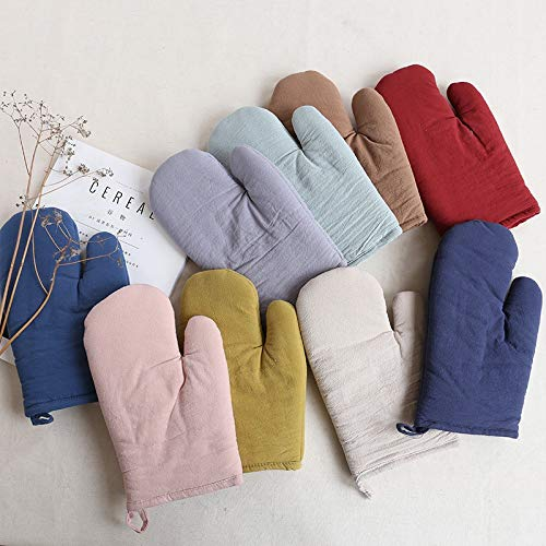 High Temperature Resistant Anti-scalding Gloves Cotton Solid Color Anti-slip Insulation Oven Microwave Oven Special Anti-hot Gloves Wear-Resistant Non-Slip ( Color : Navy , Size : L-Two pieces ) by XIAOF-FEN