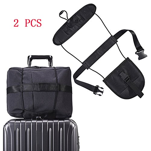 2 PCS Travel Bag Bungee Carry-on Trolley Strap Adjustable Belt Bag Bungee Carrying On Luggage Bag Strap With Elastic Strapping to Hold Laptops Suitcase Black?Pack 2? by chendongdong