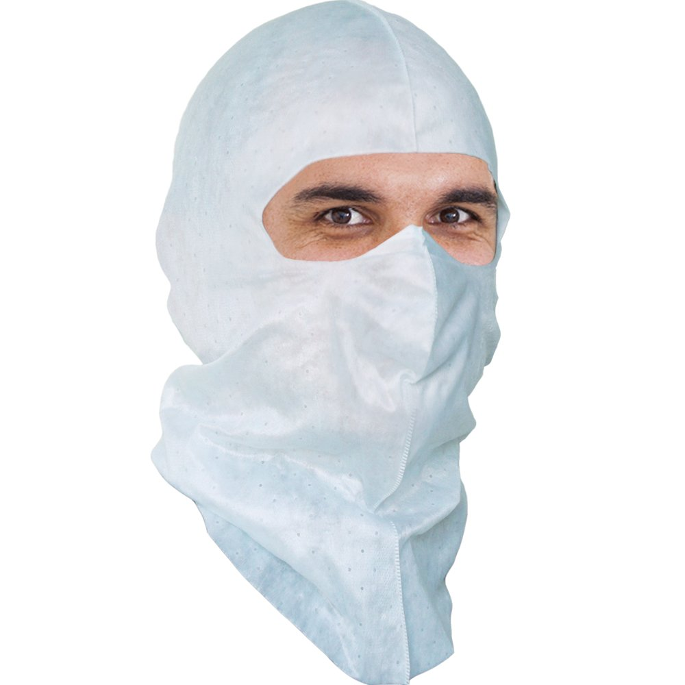 Aqua Blue Soft-stretch Hood & Face Mask (Spray Sock) for Food Manufacturing. $1.56 Ea, 50 Per Pack