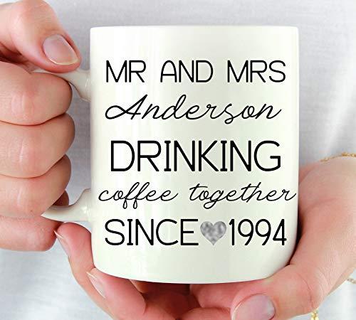 Dason Personalized 25th Wedding Anniversary Gift For Couple 25 Year Anniversary Gift For Parents Silver Anniversary Mug Parents 25th