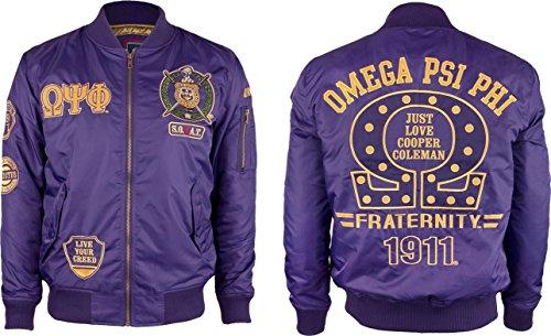 Omega Psi Phi Divine 9 Bomber Flight Mens Jacket [Purple - L] by Cultural Exchange