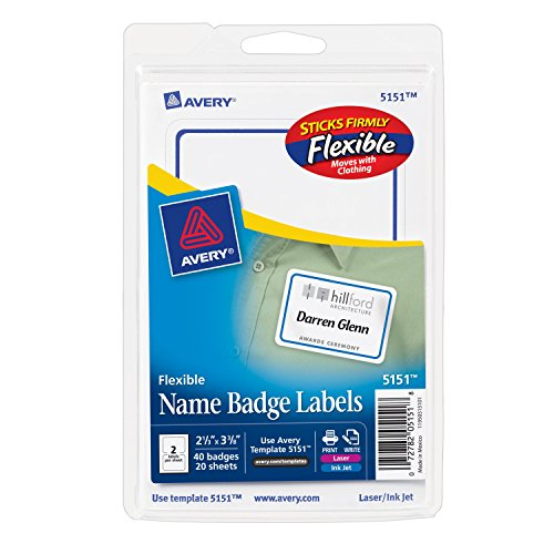 (Avery Flexible Name Badge Labels with Blue Border, 2-1/3 x 3-3/8, Pack of 40 (5151))