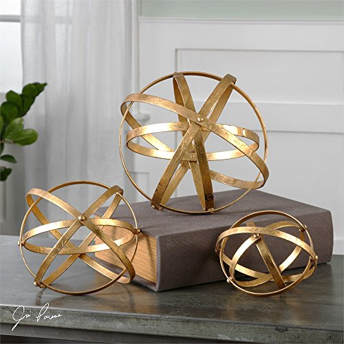 Set of 3 Iron Gold Leaf Sphere Decorative Table Top Decorations - Iron Leaf Sphere