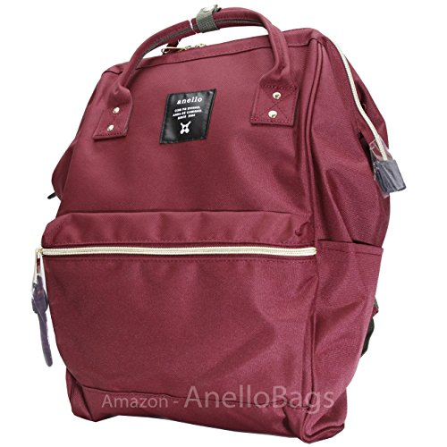 Japan Anello Backpack Unisex LARGE RED WINE Rucksack Waterproof Canvas Campus Bag