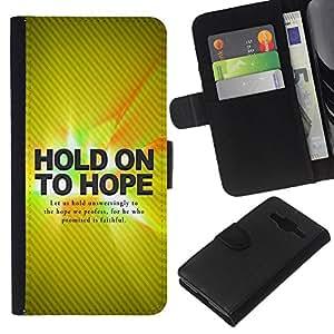 EJOY---La carpeta del tirón la caja de cuero de alta calidad de la PU Caso protector / Samsung Galaxy Core Prime / --Hold On Hope BIBLIA