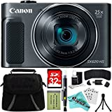 Canon PowerShot SX620 HS Digital Camera Plus Bundle Kit with 32GB HC Memory Card, Carrying Case, Mini Tripod, Screen Protectors, Cleaning Kit, Liquid Deals Cloth and Accessories - Black