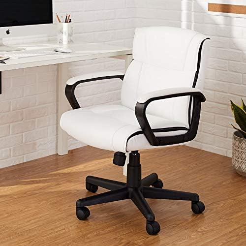Amazon Basics Padded, Ergonomic, Adjustable, Swivel Office Desk Chair with Armrest, White Bonded Leather