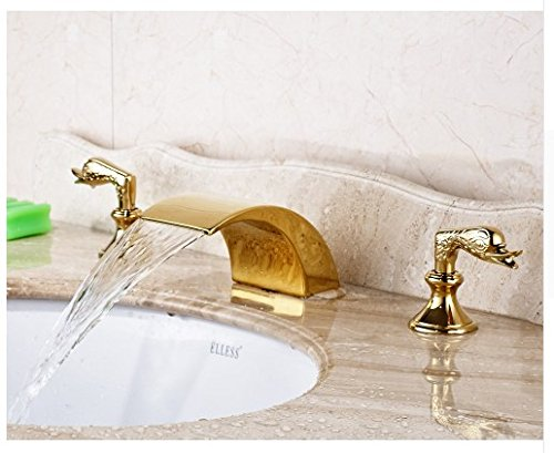 Gowe Gold Finished Deck Mounted Bathroom Sink Faucet Double Handles Three Holes Mixer Tap 2