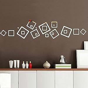 LY & HYL pared pegatinas pared adhesivo decorativo de plástico y marco de fotos de pared espejo pegatinas DIY puestos de pared TV fondo hechizo, mezcla de materiales, dorado, gold