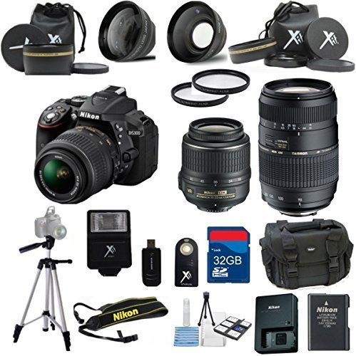Nikon-D5300-Black-Camera-with-Nikon-18-55mm-VR-Lens-Tamron-70-300mm-Zoom-Lens-15pc-Accessory-Bundle-Kit-International-Version