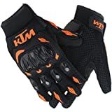 Genxtra KTM Motorcycle Riding/ Safety Gloves (Orange and Black_X-Large)