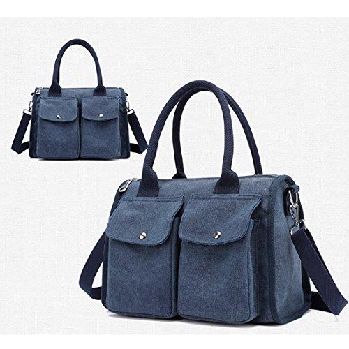 a7ba389be6be6 amp D Handtasche Umhängetasche Cool Canvas Mädchen Damen Große Tasche Tasche  Blue Kapazität Leinwand Blue Shopper Vintage qdccSCA