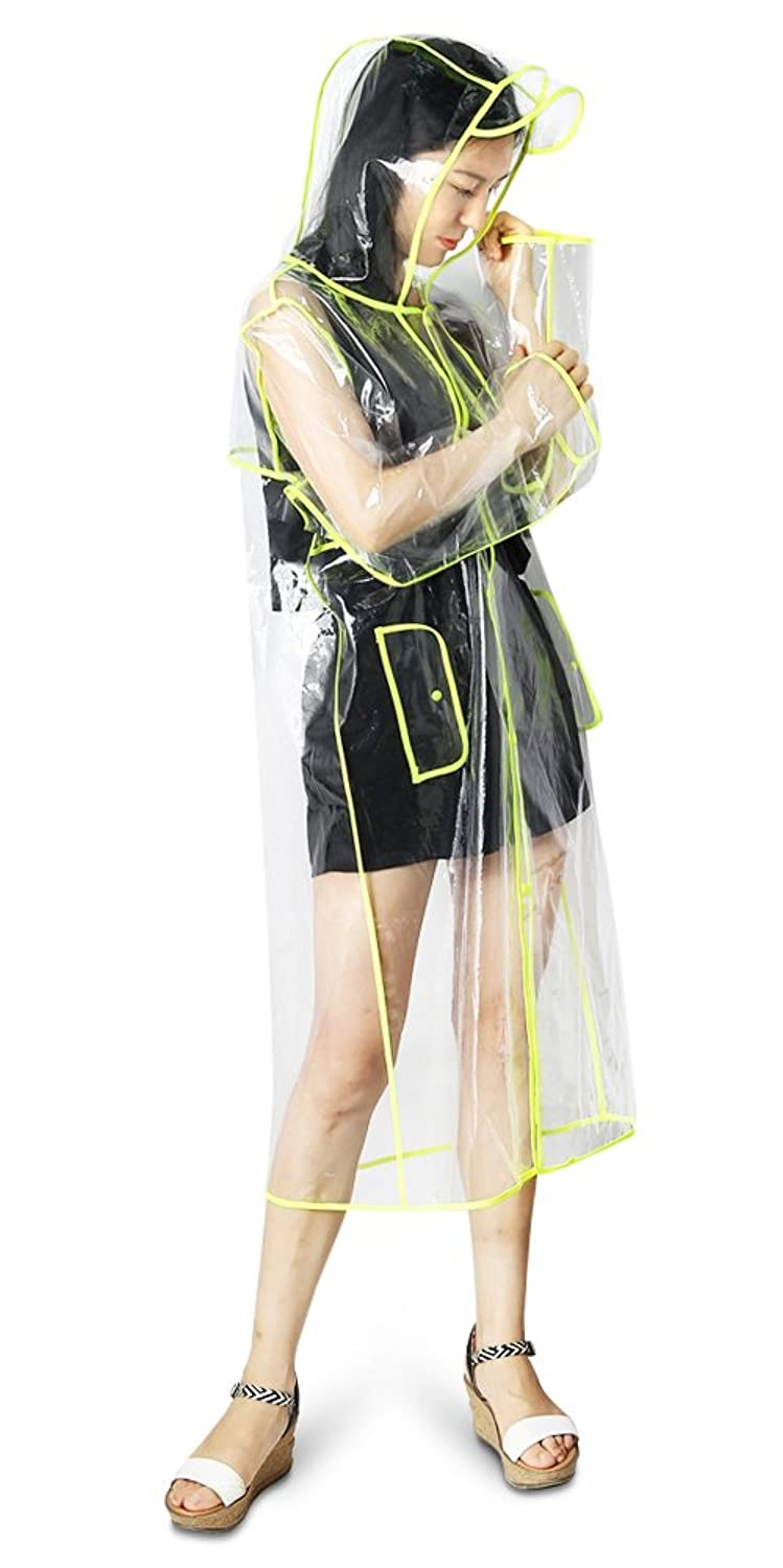 1960s Coats and Jackets Zicac Womens Girls Transparent Long Raincoat Hooded Rain Jacket $18.99 AT vintagedancer.com