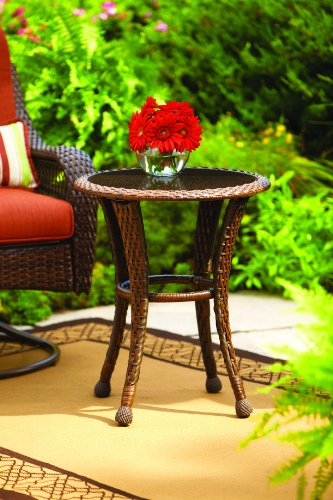 Better Homes and Gardens Azalea Ridge 20″ Wicker Round Outdoor Side Table 24″h X 19.75″d Steel Frame Glass Top For Sale
