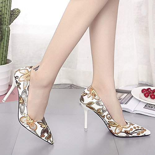yalanshop The High-Heel Shoes Women Fashion Tips Romantic And Elegant Fine With The Girl, Brown 37