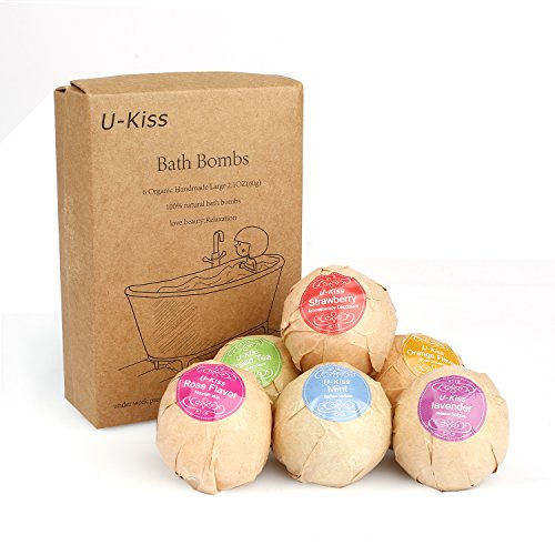 U-KISS 6 PCS Bath Bomb Gift Set, All Natural Essential Oil Bath Bomb, Birthday Gifts for her, Teen girls, Valentine gift (Gifts For Her Birthday)