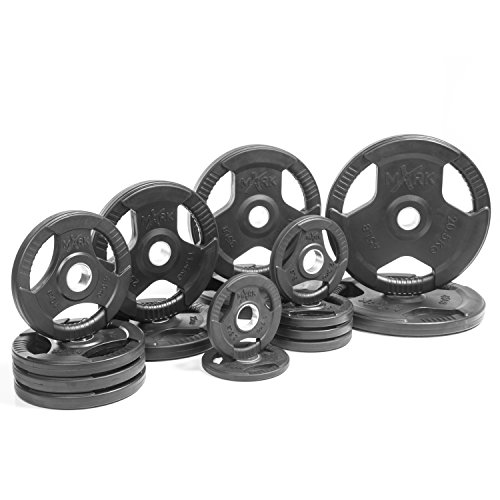 XMark Premium Quality Rubber Coated Tri-grip Olympic Plate Weights - 275 lb Set