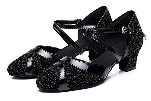 Tda Moda Para Mujer Confort Floral Suede Salsa Tango Ballroom Boda Moderna Zapatos De Baile Latino Negro Plata-5cm Tacón