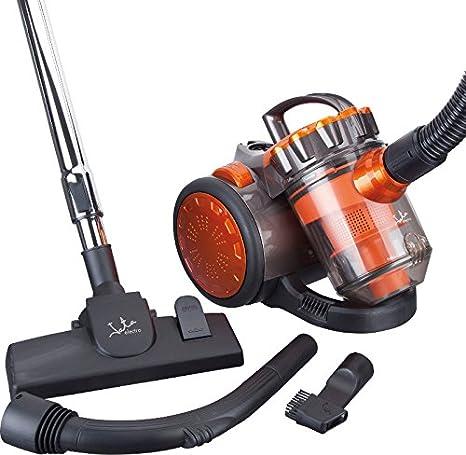 Jata AP999 Aspirador multiciclónico sin bolsa, filtros anti-ácaro, 700 W, 2 litros, 85 Decibelios, Negro Y Naranja