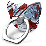 roman drawing - Cooby Roman Cat Face Shape Cell Phone Stand Cardinal Birds Winter Drawing Finger Ring Stand Holder - Finger Grip Kickstand 360° Rotation for iPhone and More Smartphones