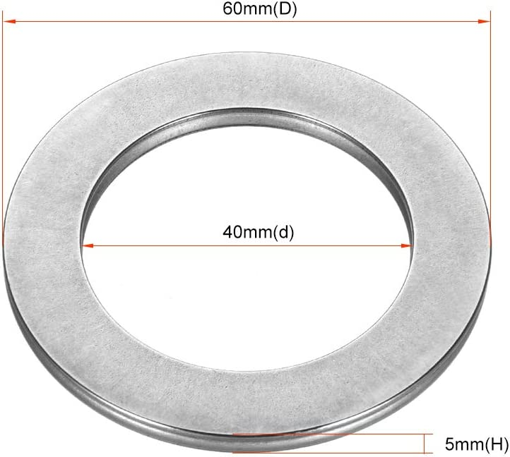 uxcell AXK4060 2AS Needle Roller Thrust Bearings with 2 Washers 5mm of Thickness 60mm OD GCr15 Hardness 40mm Inner Diameter