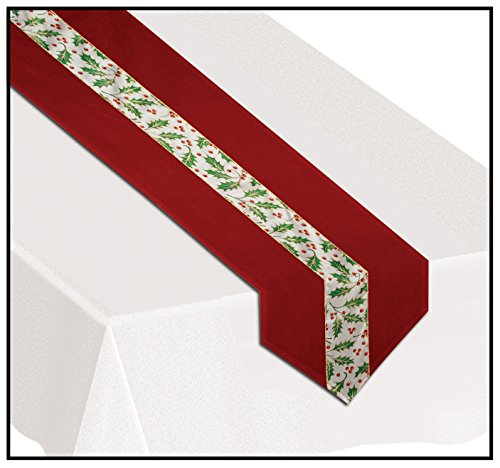 Christmas Holly Fabric Table Runner Party Accessory (1 count) (1/Pkg)