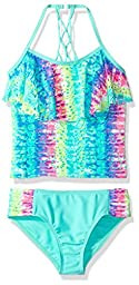 Angel Beach Big Girls\' Swim Remix Tie Dye Cool Tankini Set, Multi, 8