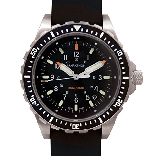 Marathon Watch JSAR Swiss Made Military Issue Jumbo Diver's LGP Watch with MaraGlo Illumination and Sapphire Crystal, 46 mm (Rubber Strap) SKU - ()