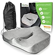 Amazon Lightning Deal 81% claimed: Motion Trend Seat Cushion - Bamboo Charcoal Orthopedic Memory Foam Chair & Car Seat Support (Gray)