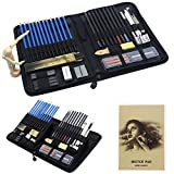 Parallel Halo Drawing and Sketching Art Set with Carrying Case; Graphite, Pastel, and Charcoal Pencils, Willow Sticks, Paper Blending Stumps; Art Kit for Kids, Teens and Adults (49sets)